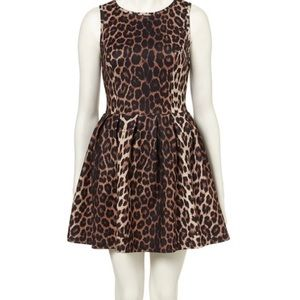Topshop leopard print skater cocktail dress size 2